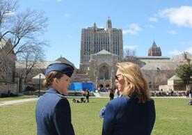 Air Force ROTC cadet Madeline Skrocki '17 of Calhoun College (left) talks with Deborah Lee James, U.S. secretary of the Air Force, during the Yale Veterans Summit, held April 10–11 on campus. (Photo by Major Jason Bast)