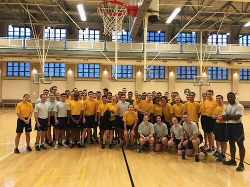 Air Force Cadets and Navy Midshipmen after the Joint PT Session