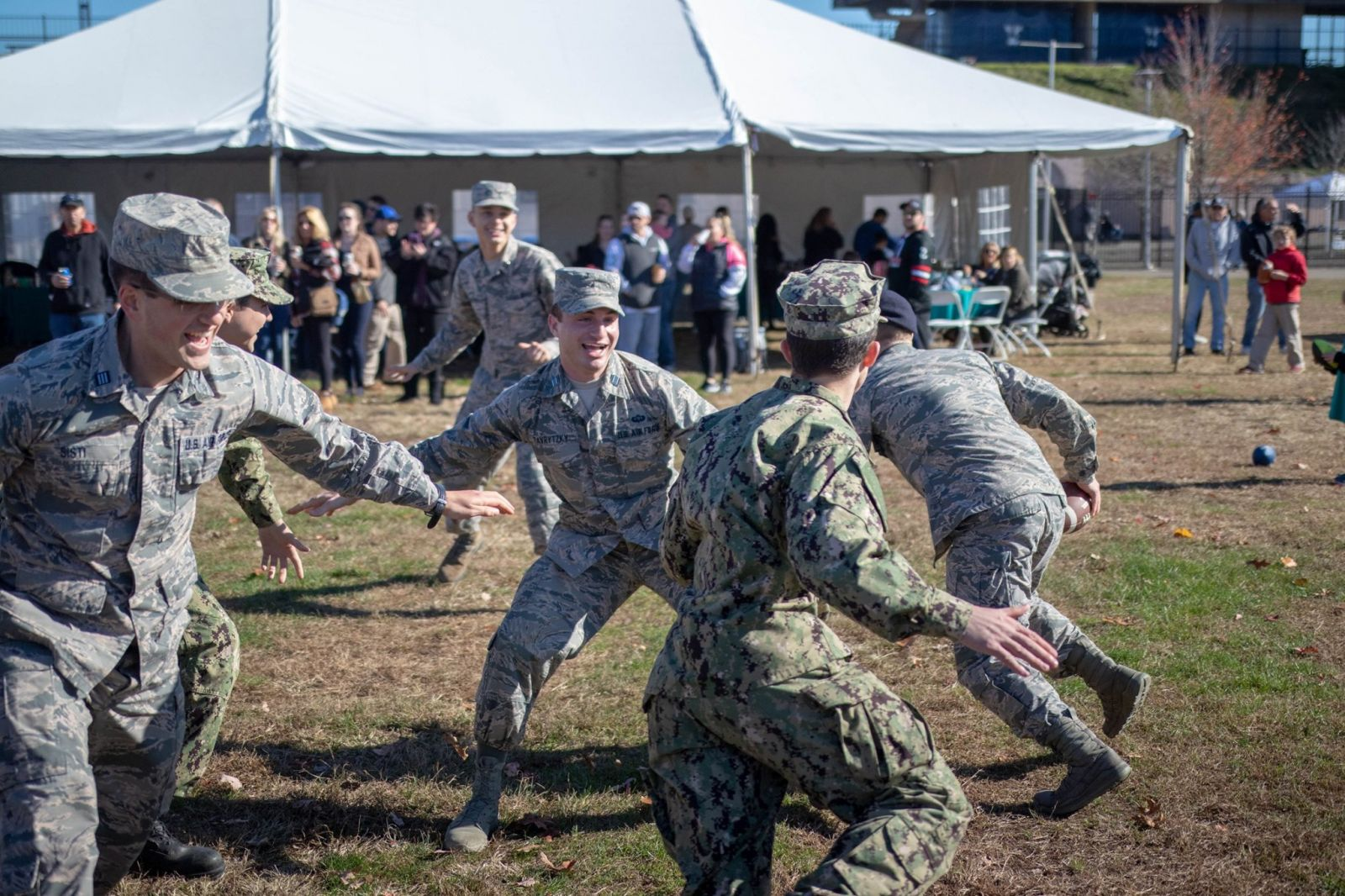 Cadets play football before the annual Hero's Day Game