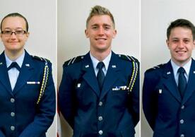 Cadets Samantha Bleykhman '19, Eric Sanderson '19, and John Slife '19 in Air Force ROTC uniform. Slife and Bleykhman received offers for competitive national internships, while Sanderson earned a scholarship to study abroad next year.